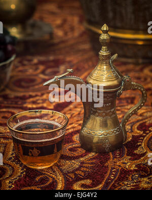Middle east, tea, cup, glass, decorative, brass, pot, tablecloth, ornamental, drink, beverage, spout, arabic, arabian, - Stock Photo