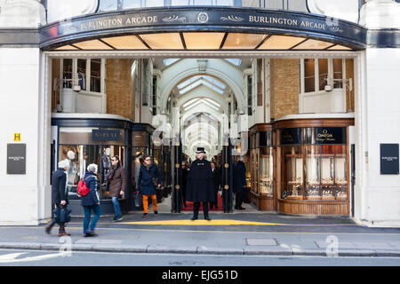 Burlington Arcade is a luxury shopping destination in the West End of London, England. - Stock Photo