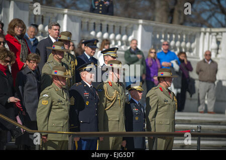 U.S. Army Sgt. Maj. Raymond F. Chandler III, Sergeant Major of the Army, and Australian Army officials stand at - Stock Photo
