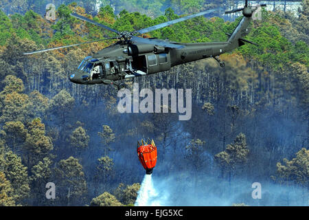 """A U.S. Army UH-60 Black Hawk helicopter using a """"Bambi Bucket"""" drops 600 gallons of water onto fires near - Stock Photo"""