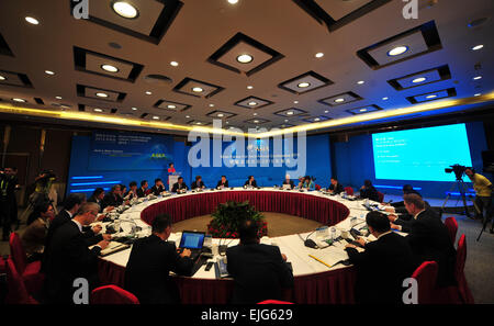 Boao, China's Hainan Province. 26th Mar, 2015. Participants attend a roundtable discussion with the theme of 'Building - Stock Photo