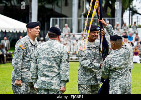 U.S. Army Gen. Vincent Brooks, incoming Commanding General of the U.S. Army Pacific, return the unit's colors to - Stock Photo