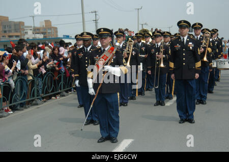 The Eighth United States Army Band performs during a parade for the opening ceremony of the 2008 Shanghai Spring - Stock Photo
