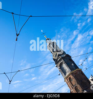 The Munttoren, or 'Coin Tower', a tower in Amsterdam., Holland, on Muntplein Square, near the flower market and - Stock Photo