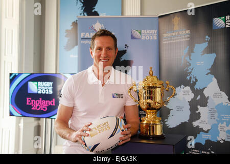 London, UK. 26th March 2015. England Rugby 2015 Ambassador Will Greenwood at the England 2015 official Fan Zone - Stock Photo