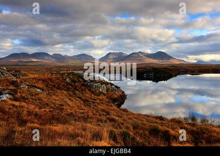 The twelve bens, Irish Landscape, Connemara, County Galway, Republic of Ireland, Europe. - Stock Photo