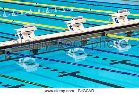 ... Beautiful Olympic Sport Competition Swimming Pool Lanes In A Clear  Transparent Blue Water Facility   Stock