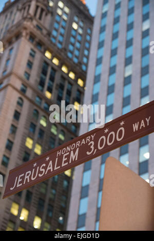 Honorary street signe for Jerusalem. Downtown Chicago. Illinois. USA. - Stock Photo