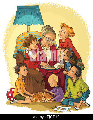 Grandmother  sitting in chair reads a book to her grandchildren - Stock Photo