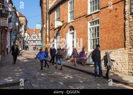 The top of Steep Hill, Lincoln, England, UK. - Stock Photo