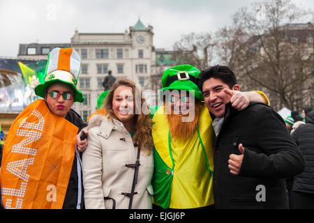 London, UK. 15th of March, 2015. St. Patricks Day parade and festival at Trafalgar Square. - Stock Photo