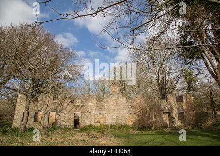Tyneham, UK. 26th Mar, 2015. Tyneham village was evacuated in 1943 in preparation for WWII and has been deserted - Stock Photo