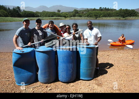 UCT GSB Teambuilding event at Back 2 Basics Adventure Campsite, South Africa - Stock Photo