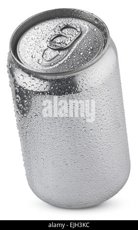aluminum soda can with water drops isolated on white  with clipping paths - Stock Photo