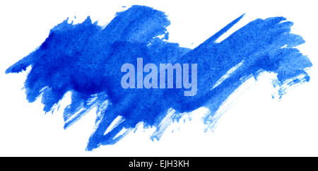 Blue watercolor abstract paint stroke on white background - Stock Photo