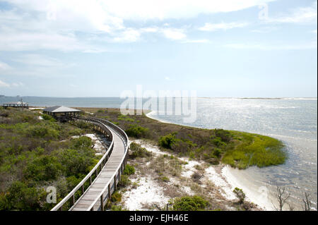 A view of the bay along Big Lagoon State Park in Pensacola Florida - Stock Photo