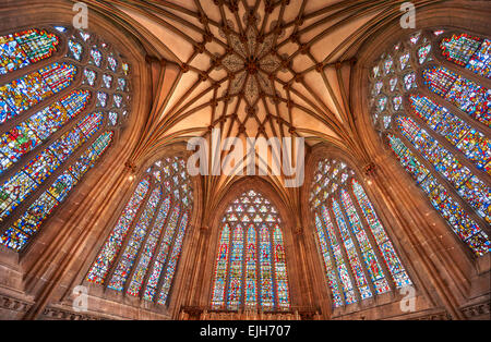 Interior of the the medieval Wells Cathedral built in the Early English Gothic style in 1175, Wells Somerset, England - Stock Photo
