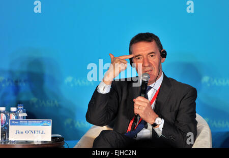 Boao, China's Hainan Province. 27th Mar, 2015. Jim O'Neill, former chairman of Goldman Sachs Asset Management, speaks - Stock Photo
