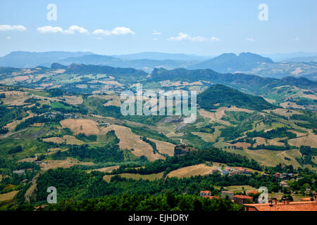 San Marino, view from the top of the hill Monte Titano. - Stock Photo