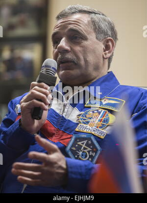 Baikonur, Kazakhstan. 26th Mar, 2015. Russian austronaut Mikhail Kornienko (RSA), a member of the main crew of Expedition - Stock Photo