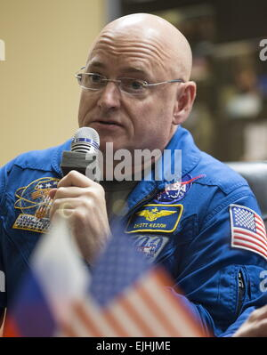 Baikonur, Kazakhstan. 26th Mar, 2015. US austronaut Scott Kelly (NASA), a member of the main crew of Expedition - Stock Photo