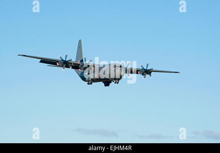 A Royal Danish Air Force C130J-30 Hercules 2 makes its final approach to Lossiemouth, Morayshire. Scotland.  SCO - Stock Photo