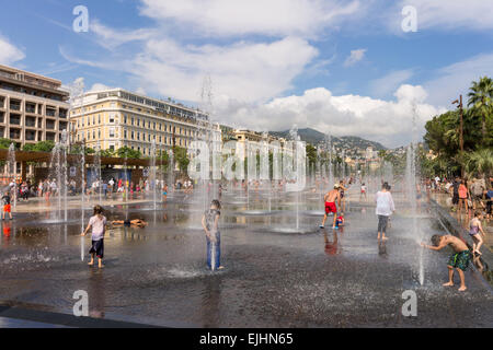 France, Cote d'Azur, Nice, water mirror in Massena square - Stock Photo