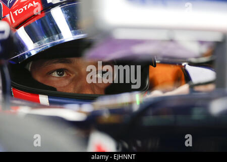 Sepang, Malaysia. 27th Mar, 2015. DANIIL KVYAT of Russia and Infiniti Red Bull Racing is seen in sitting in the - Stock Photo