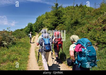 Spain, Galicia: Group of pilgrims walking the last kilometers before mountain village O Cebreiro - Stock Photo
