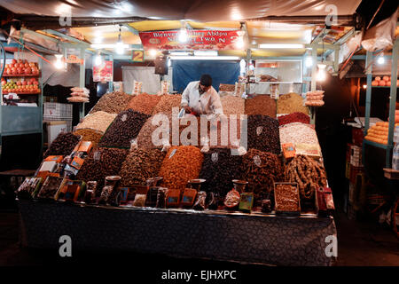 Illuminated Food stalls at night in the Jamaa el Fna, Marrakesh, Morocco - Stock Photo