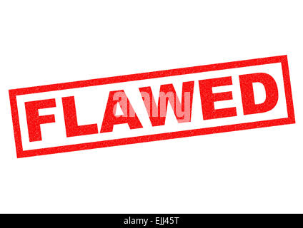 FLAWED red Rubber Stamp over a white background. - Stock Photo