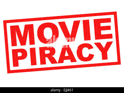 MOVIE PIRACY red Rubber Stamp over a white background. - Stock Photo