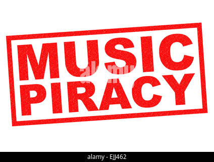 MUSIC PIRACY red Rubber Stamp over a white background. - Stock Photo
