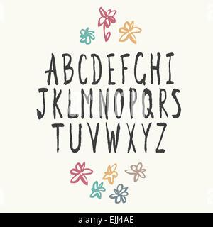 Thin Alphabet Hand-drawn. - Stock Photo