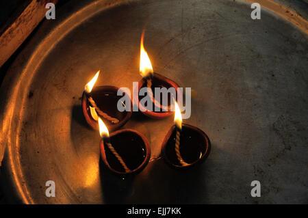 Oil lamps in hindu temple,Sri Lanka