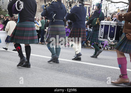 Bagpipers march in the St. Patrick's Day Parade in Park Slope, Brooklyn, NY. - Stock Photo