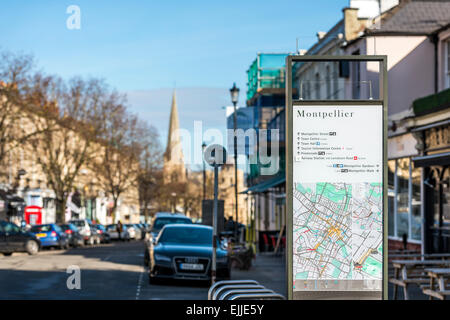 A sign for Montpellier, a fashionable shopping area in Cheltenham with many boutiques - Stock Photo