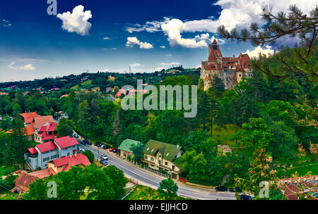 Bran overview with legendary Dracula Castle dominating. - Stock Photo