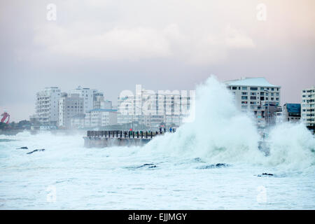Waves crashing against sea wall, Sea Point, Cape Town, Western Cape, South Africa. - Stock Photo