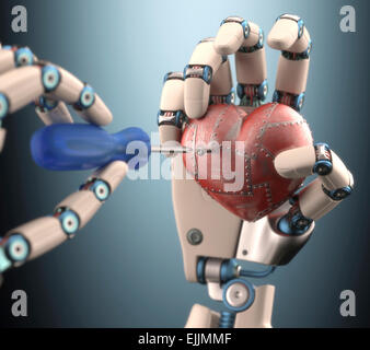 Robotic hand fixing red metal heart, computer illustration. - Stock Photo