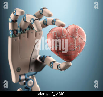 Robotic hand holding red metal heart, computer illustration. - Stock Photo