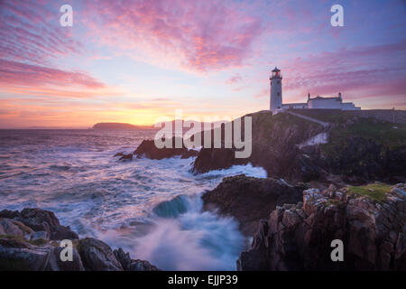 Sunrise over Fanad Head Lighthouse, Fanad Head, County Donegal, Ireland. - Stock Photo