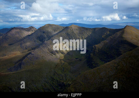 view over the eastern Reeks from Carrauntoohil, MacGillycuddy's Reeks, County Kerry, Ireland. - Stock Photo