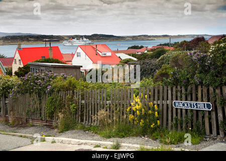 Falklands, MS Hanseatic moored in Port Stanley Harbour from Hackets Hill - Stock Photo