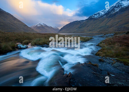 Winter sunset on Glencullin River and Doolough, County Mayo, Ireland. - Stock Photo