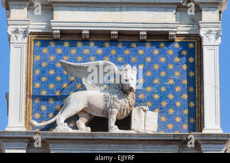 Venice, Venice Province, Veneto, Italy.  The winged lion with the book is an iconic symbol of Venice. This one is - Stock Photo