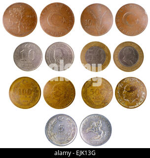 different old turkish coins isolated on white background - Stock Photo