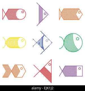 Set of vector colorful fish icons - Stock Photo