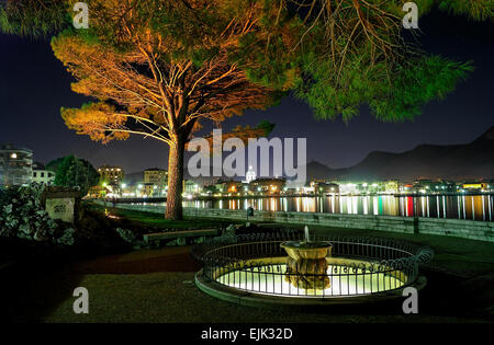 Lakeside city at night with illuminated fountain in foreground - Stock Photo