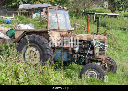 Old neglected tractor between the weed at a farmyard - Stock Photo